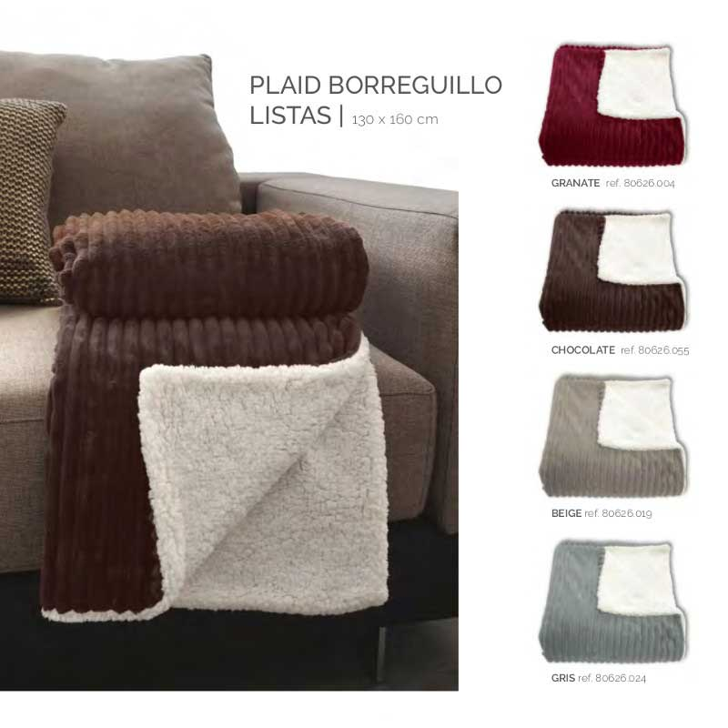 Manta Plaid Borreguillo Listas Stilia